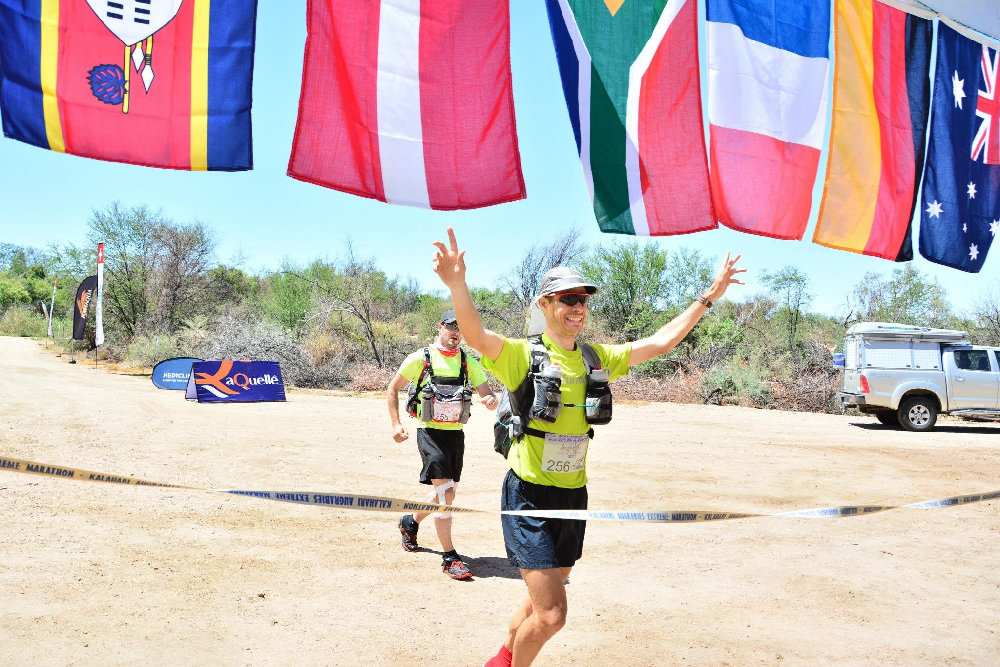 Daniel Rowland winning the Kalahari Augrabies Extreme Marathon 2013 (picture HermienWebb Photography, Facebook)