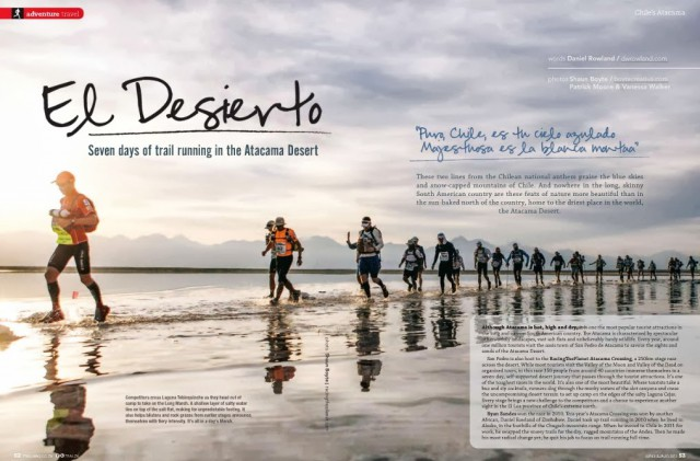 Daniel Rowalnd leads the Atacama Crossing 2013 field en-route to victory (Picture Shaun Boyte in Trail Magazine Issue 7 - dwrowland.com)