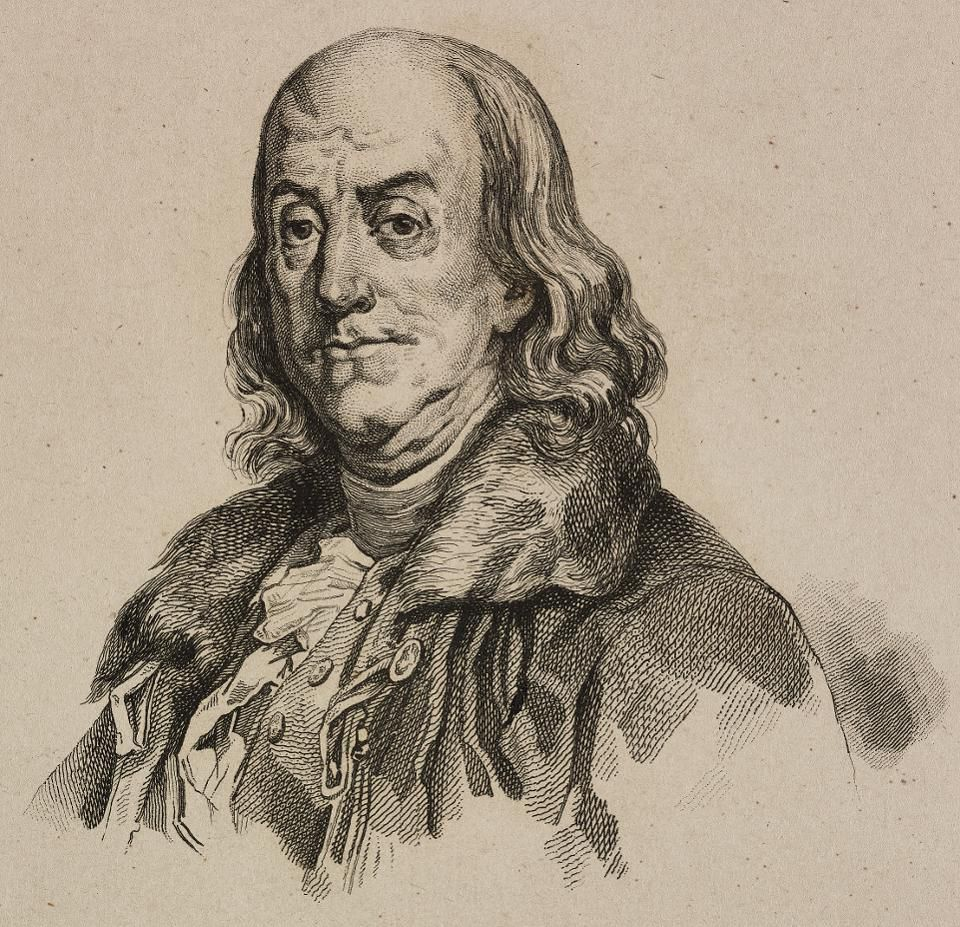 Portrait of Benjamin Franklin (1706 -1790), American politician, United States of America, engraving by Vernier from Etats-Unis d'Amerique, by Roux de Rochelle, L'Univers Pittoresque, published by Firmin Didot Freres, Paris, 1837.